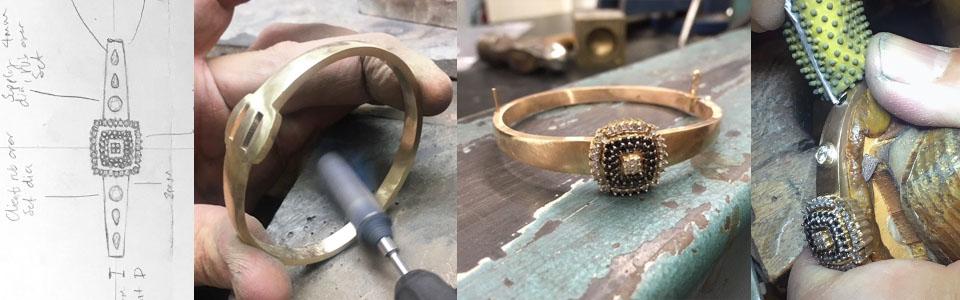 goldsmith making bangle stone setting in progress nicholas wylde