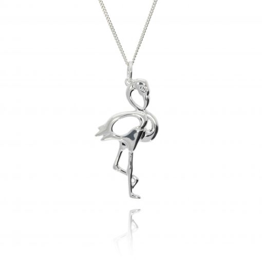 3D sterling silver flamingo necklace pendant