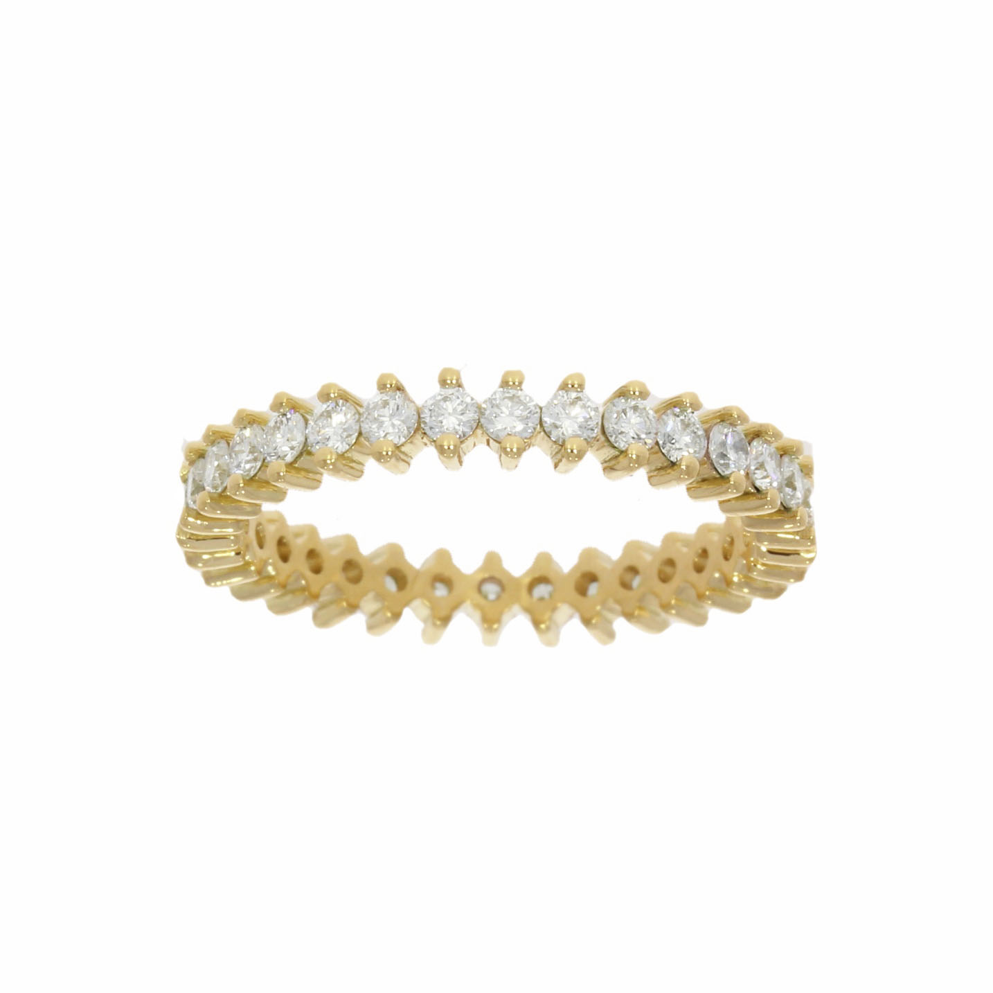 unusual alternative 2 claw et eternity ring yellow gold diamond modern stylish