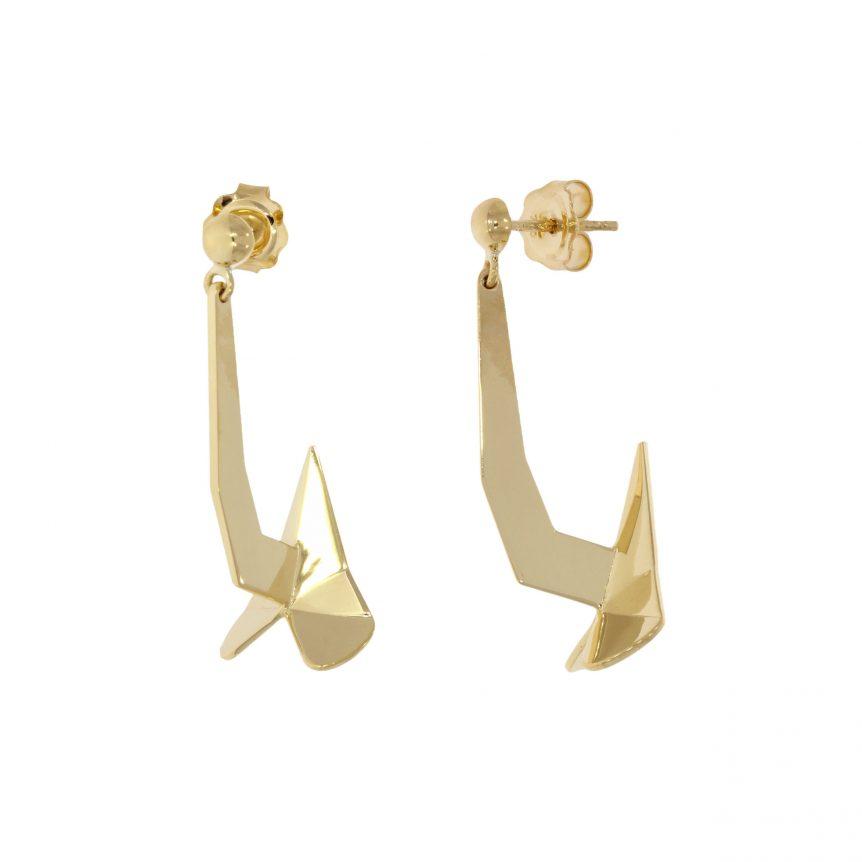 ship anchor earrings geometric origami modern stylish contemporary