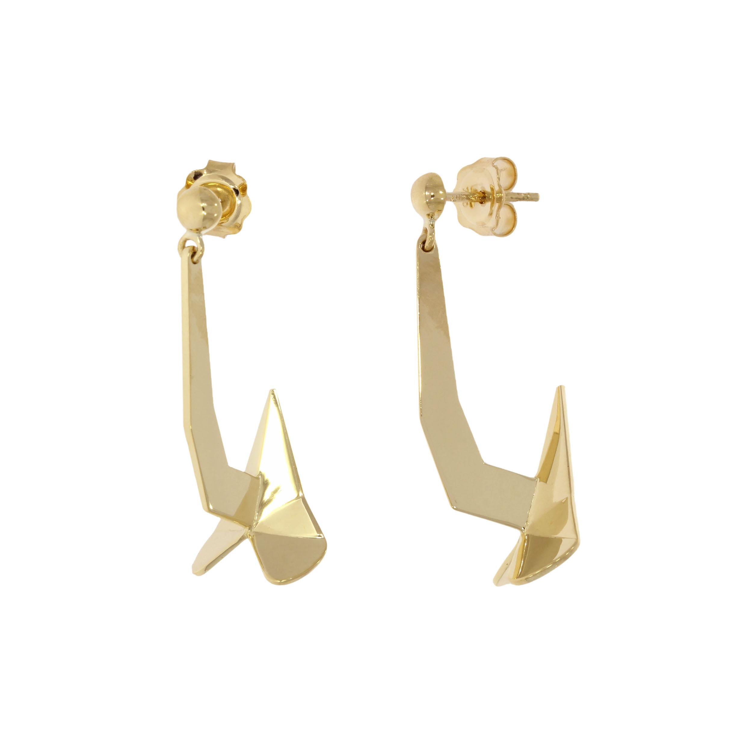 18ct Gold Geometric Ship Anchor Earrings