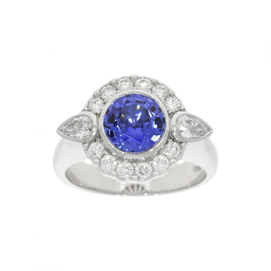 wylde blue tanzanite sapphire cluster engagement ring