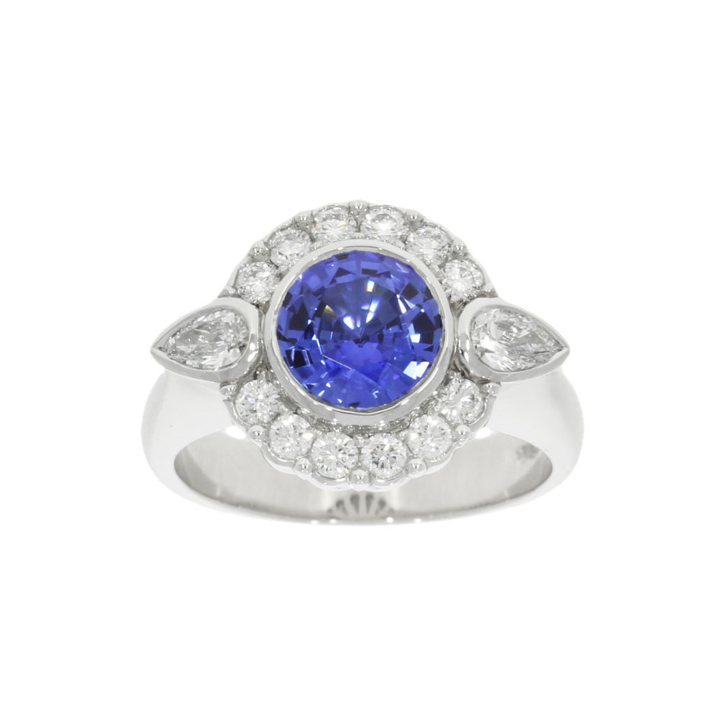 Platinum Blue Sapphire and Diamond Cluster Ring