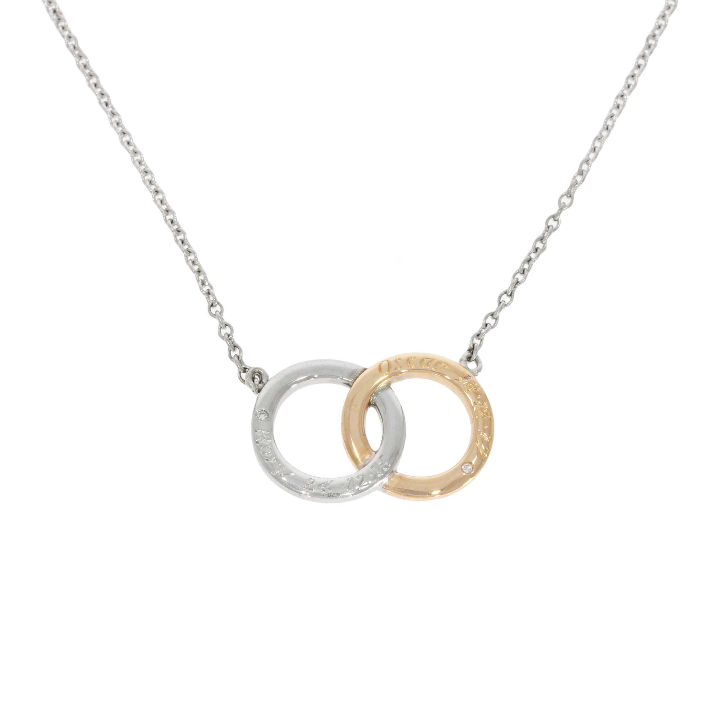 White & Yellow Gold Engraved Birthstone Necklace