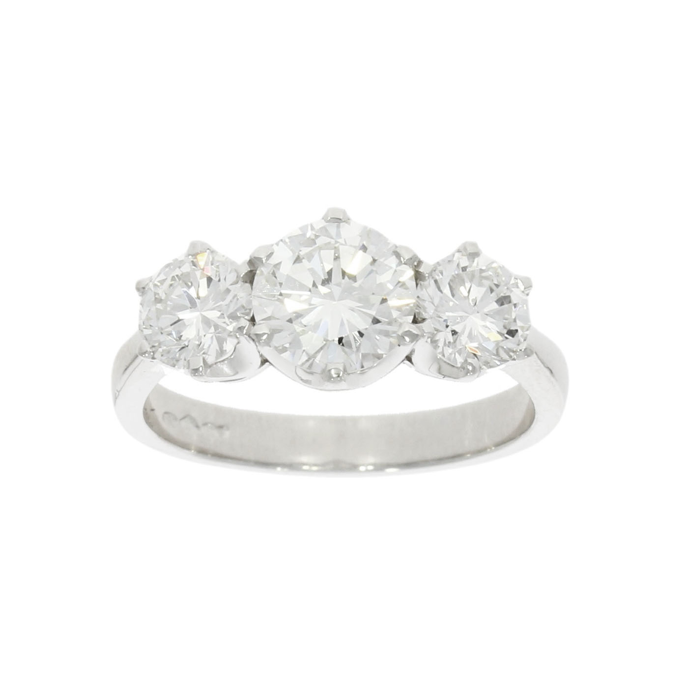 Platinum 2.07ct Three Diamond Engagement Ring