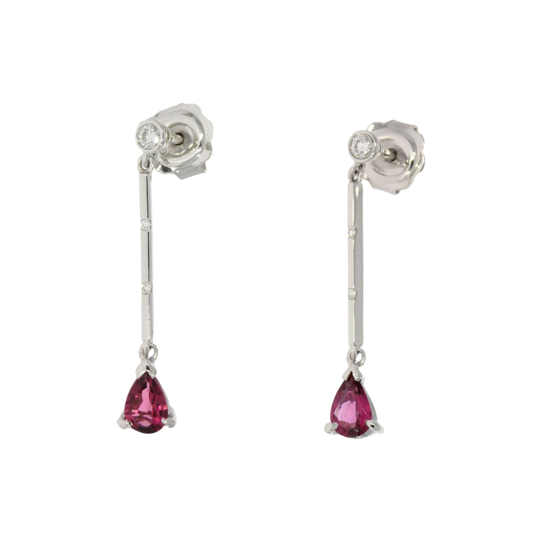 White Gold Pink Tourmaline Earrings