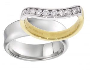 his hers wedding rings bespoke nicholas wylde non-matching half eternity ring
