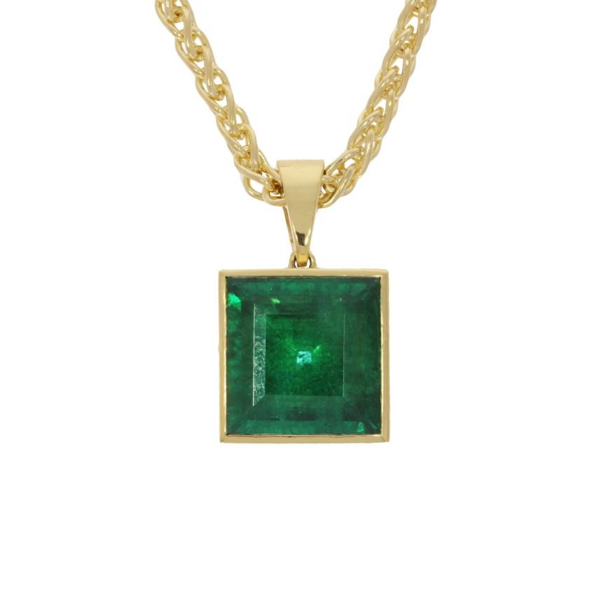 large rare emerald yellow gold pendant necklace jeweller goldsmith bath bristol uk