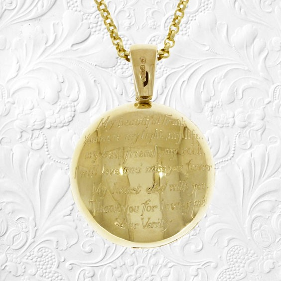 engraved memorial locket commemorating jewellery necklace funeral widow gift uk