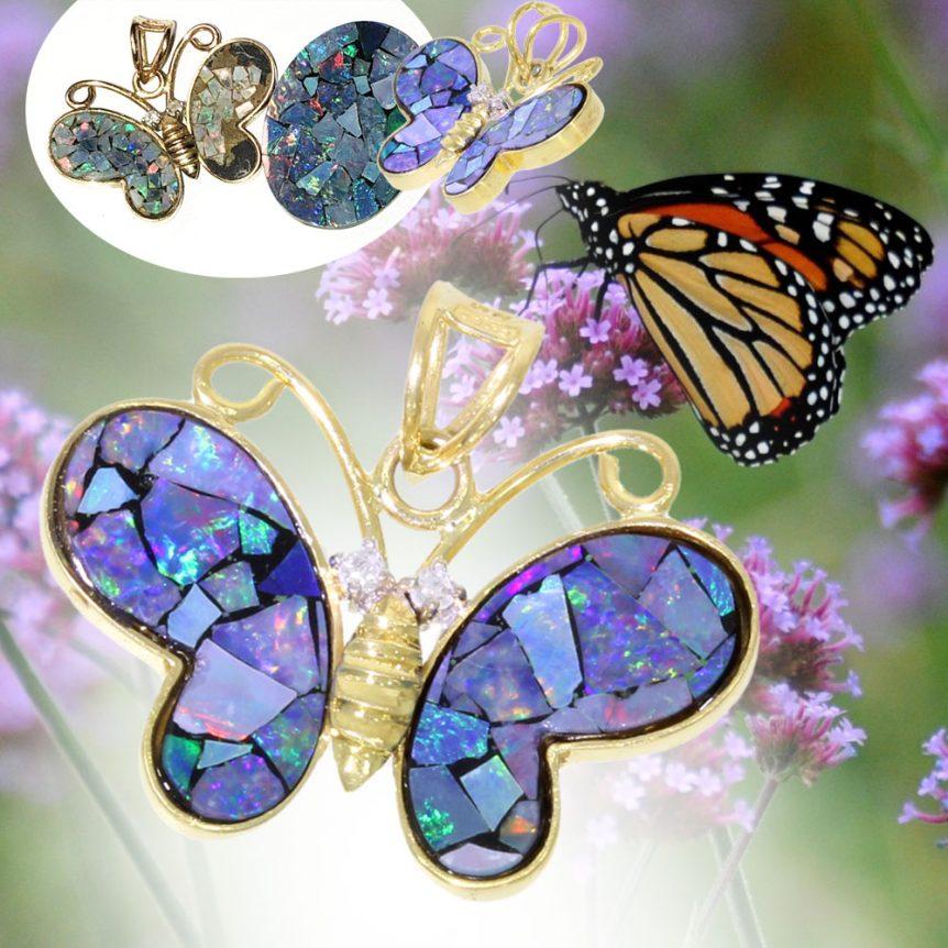 opal butterfly art imitating life necklace pendant uk
