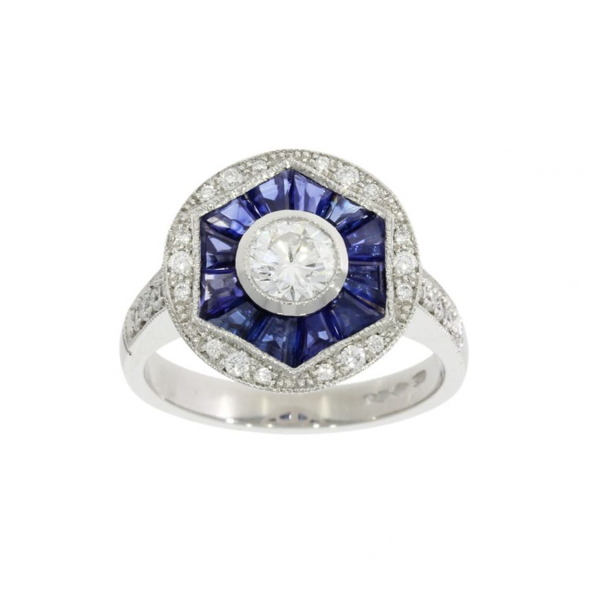 art deco style blue sapphire and diamond art deco style cocktail engagement ring bespoke