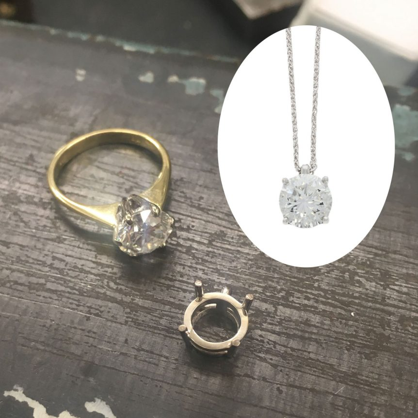 old to new remodelled remodelling engagement ring after break up widowed goldsmith uk