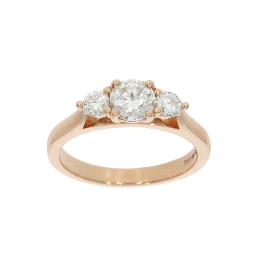 three diamond rose gold engagement ring pretty sweet