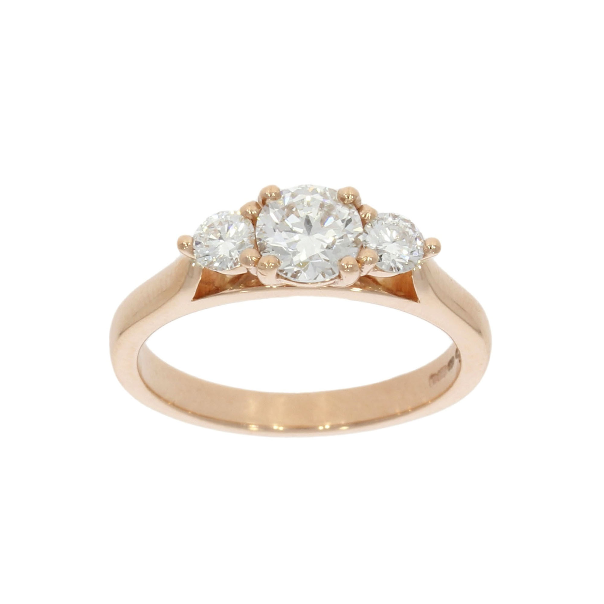 9ct Rose Gold Three Diamond Ring