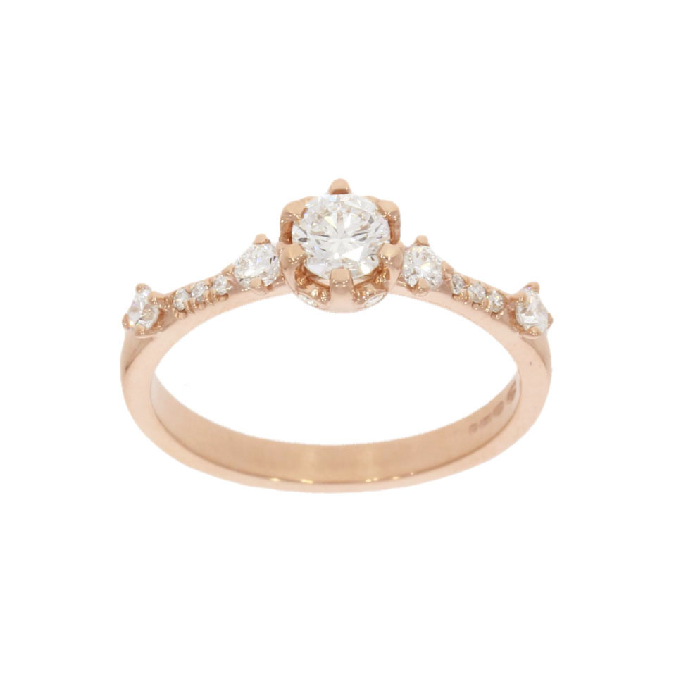 fashionable detailed ornate pretty dainty rose gold diamond engagement ring