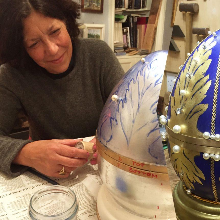 Jane Knapp designing a large faberge egg for Nicholas Wylde Goldsmith