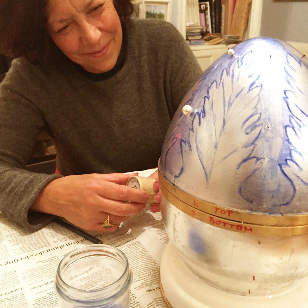 Jane Knapp in the middle of designing Nicholas Wylde's egg for the hunt 2019