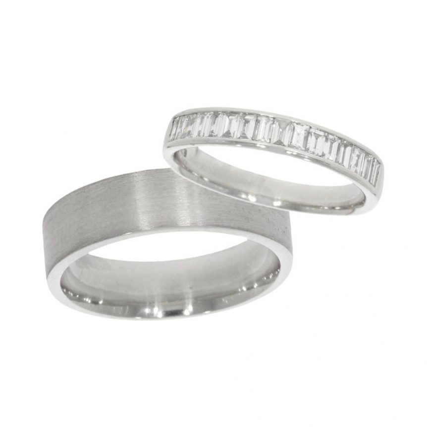 wedding ring set of his and her bands with baguette cut diamonds