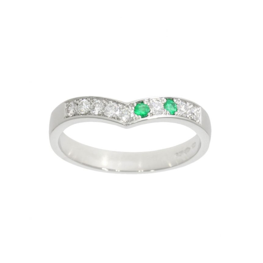 Platinum offset emerald and diamond asymmetric shaped eternity band