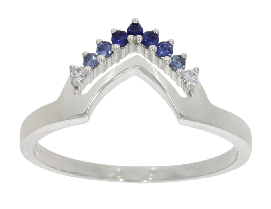 A shaped graduated blue sapphire wedding or eternity ring made to match a bridal set