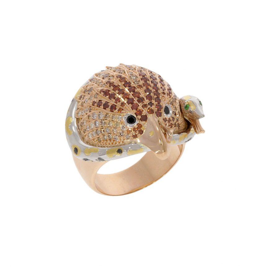 18ct Rose gold platinum and multi diamond eagle and snake bespoke ring