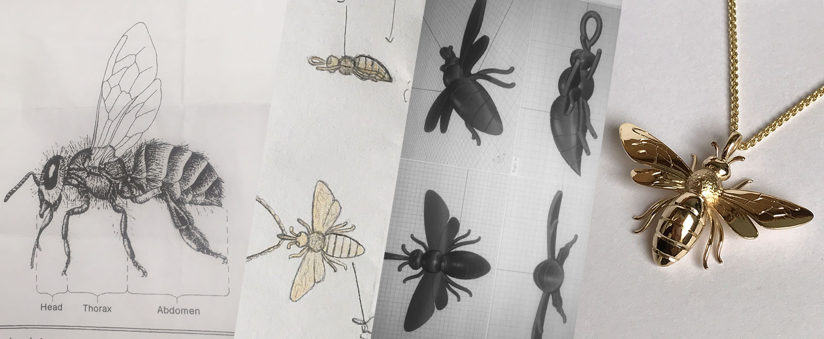 Drawing a design sheet and then CADing a bumble bee pendant for a golden wedding anniversary