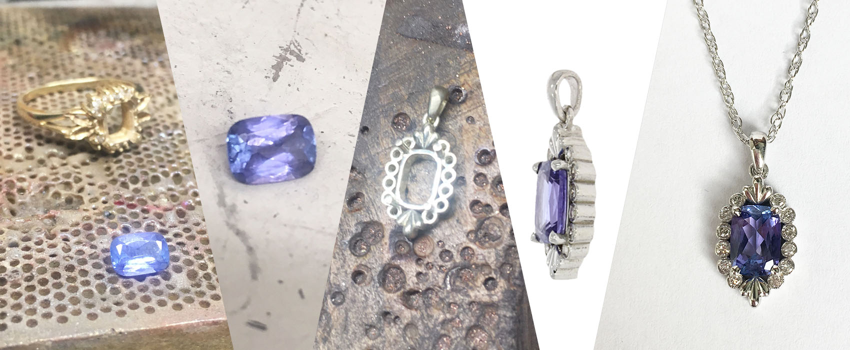 Goldsmith's process making old jewellery into a new opulent pendant