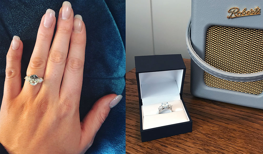 She said yes! When your aqua engagement ring matches your radio