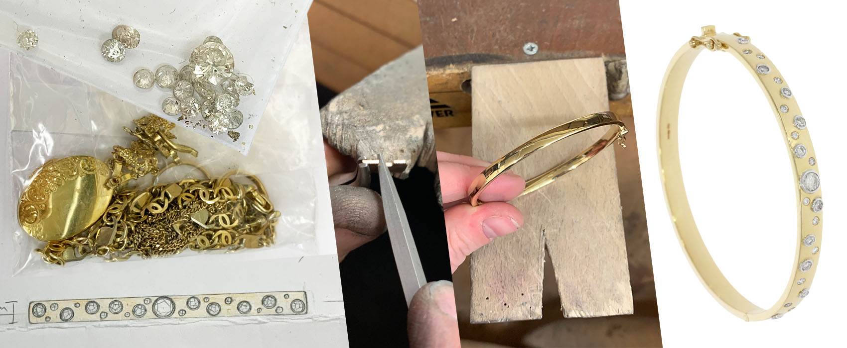 Client using old gold and diamonds to create a new piece of jewellery