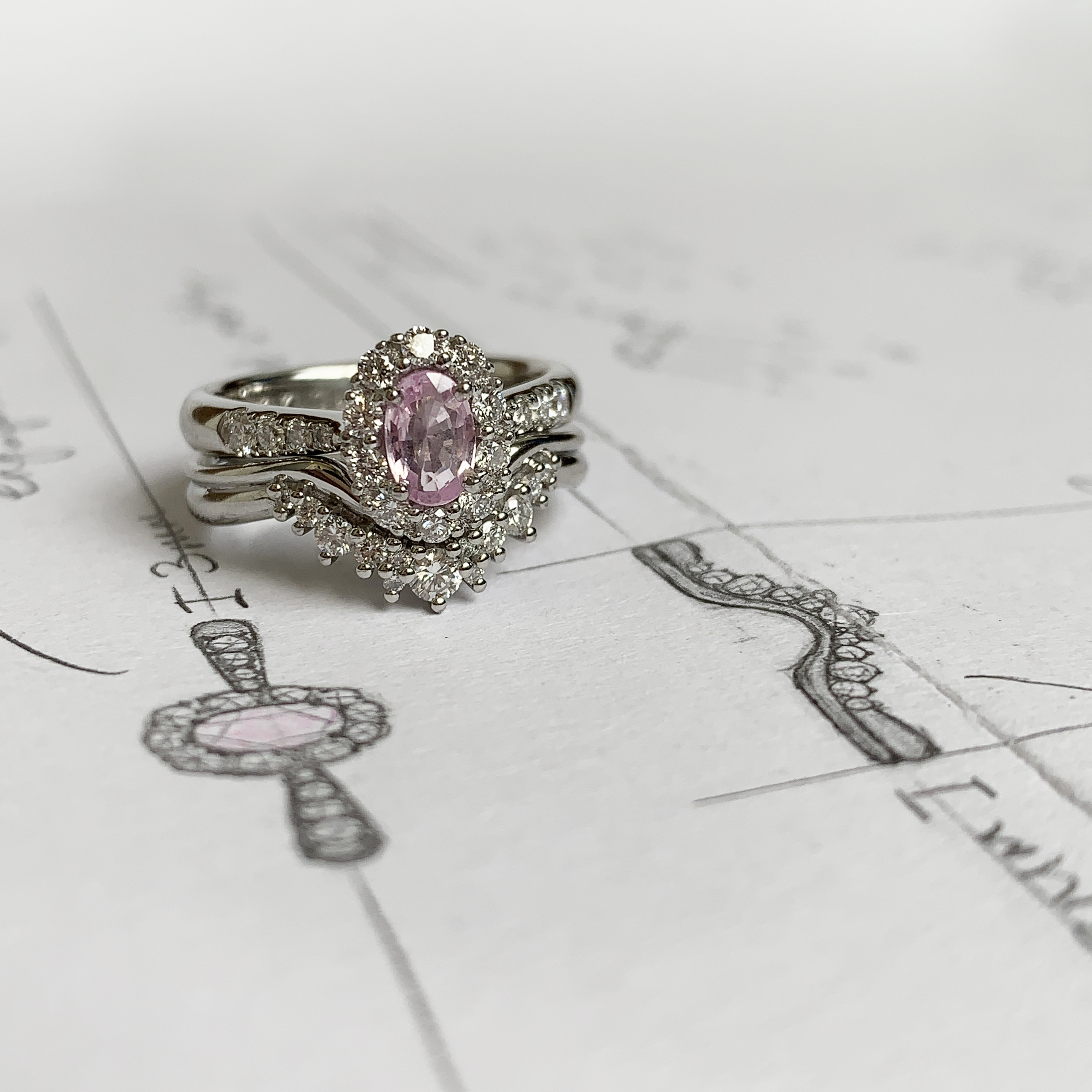 Wylde engagement and wedding ring next to sketched design