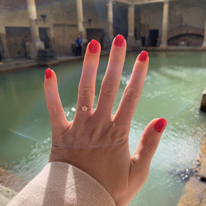 Rose gold diamond engagement ring at the roman baths