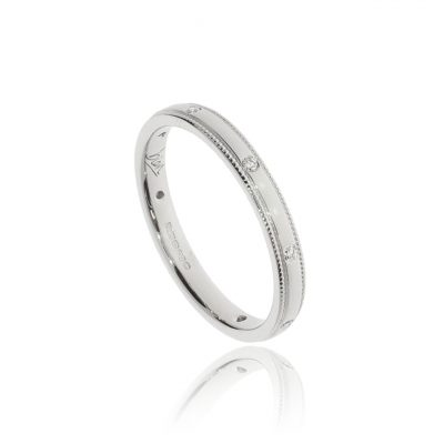 Spaced out diamond modern simple wedding ring