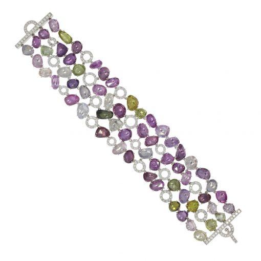 Showstopping multi sapphire and diamond encrusted opera worthy jewellery bracelet