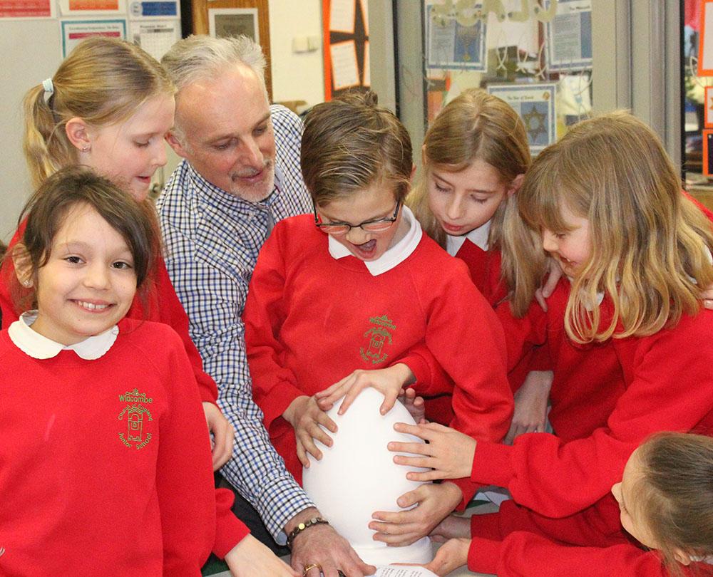 Nicholas Wylde with Widcombe Junior School art club classmates