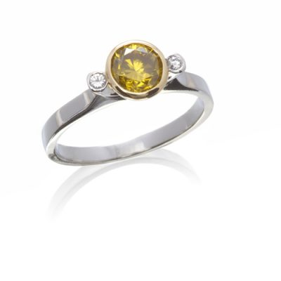 Yellow and white diamond 3 stone ring