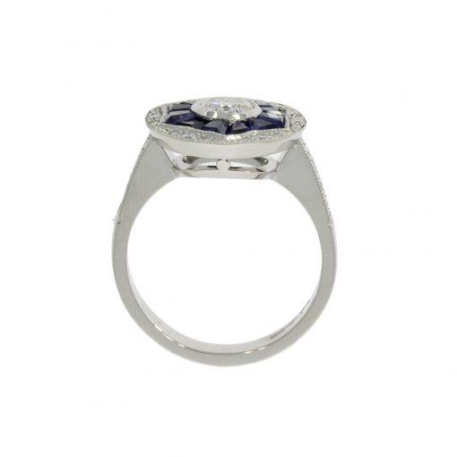 white gold platinum diamond blue sapphire engagement side view