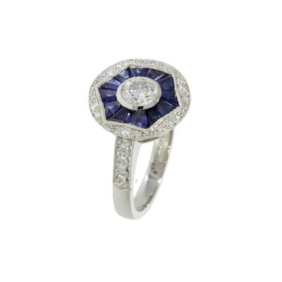 diamond sapphire dark blue engagement cocktail dress ring england uk