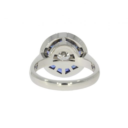 back setting side view unusual white gold platinum cluster ring