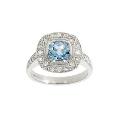 aquamarine aqua diamond platinum art deco engagement cocktail ring uk