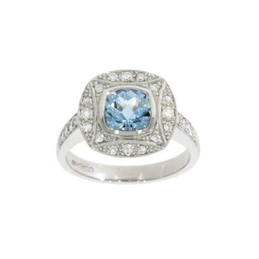 aquamarine aqua diamond platinum art deco engagement cocktail ring uk