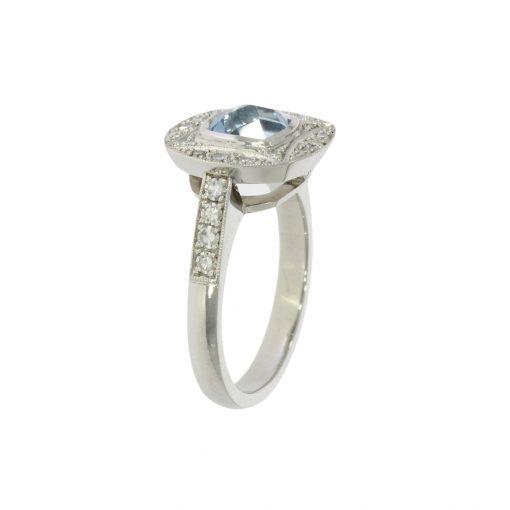 side view diamond aqua white gold platinum CAD ring bath uk