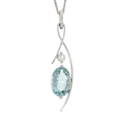 aquamarine diamond pendant necklace stylish modern fashionable wylde