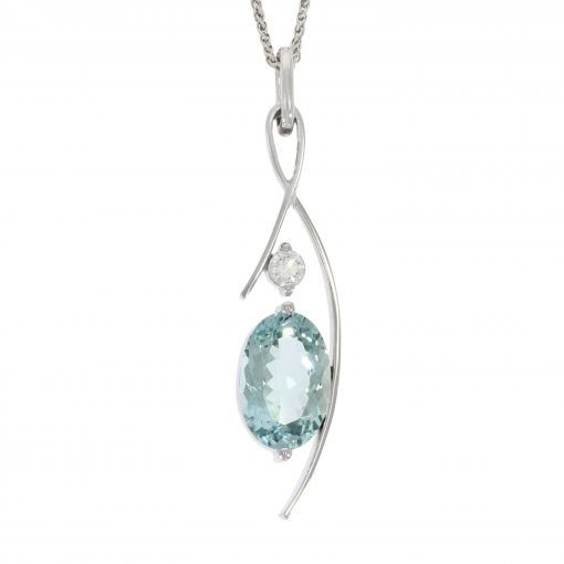 aquamarine diamond pendant necklace stylish modern fashionable wylde