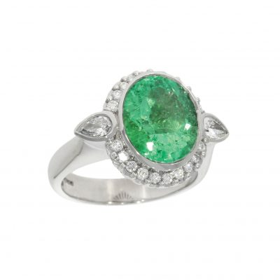 white gold diamond large emerald cocktail engagement ring bath bristol britain best uk jeweller