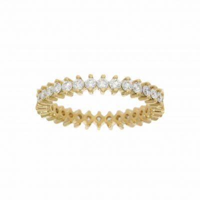unusual alternative 2 claw et eternity ring yellow gold diamond modern stylish