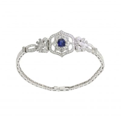 a 5ct blue sapphire and diamond art deco bespoke bracelet design made in bath uk