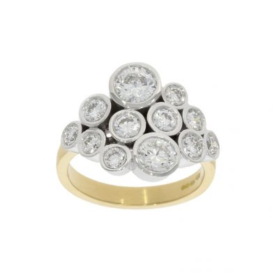 bespoke modern and simple diamond cluster ring in 18ct yellow and white gold
