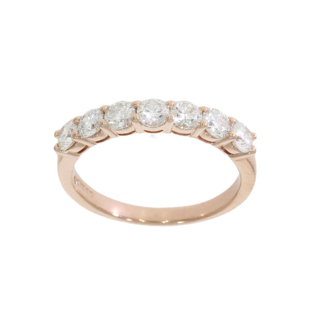 rose gold half eternity diamond ring seven 7 lucky bath goldsmith uk