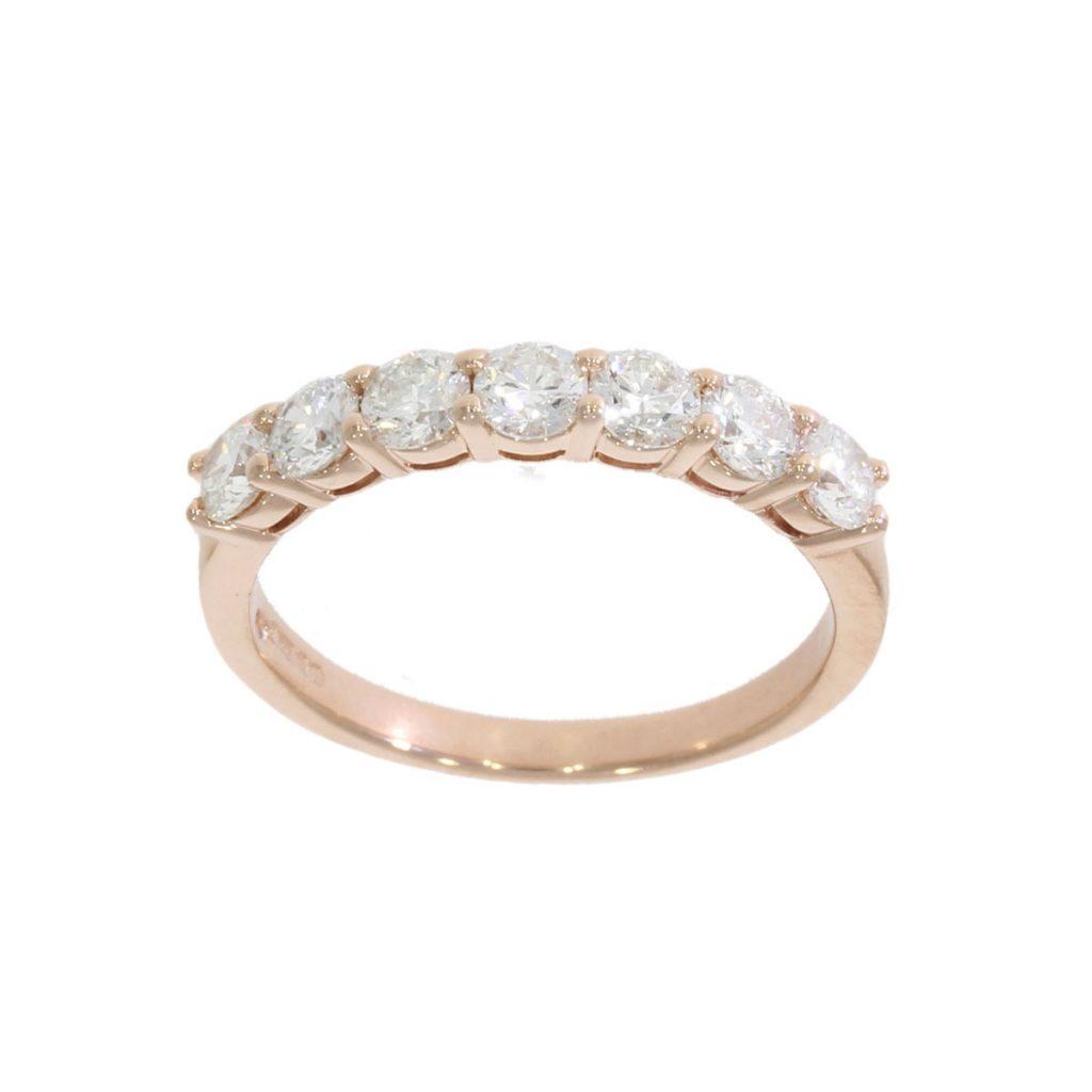 rose gold half eternity diamond ring seven 7 lucky bath goldsmith uk