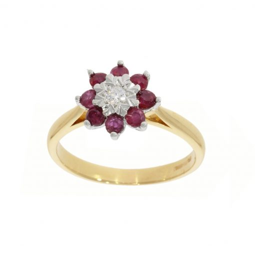 star set ruby rubies diamond cluster ring remodel vintage style ring